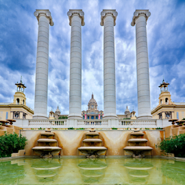 The National Palace in Montjuic, Barcelona, Spain by Dotan Naveh - Buildings & Architecture Public & Historical ( famous, reflection, europe, architecture, travel, spain, historic, city, montjuic, palau, place, barcelona, water, building, spanish, national, art, tourism, museum, nacional, history, catalonia, landmark, european, palace, plaza, culture, catalunya )