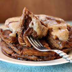 Gingerbread Cinnamon Roll Pancakes