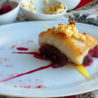 Seared Cod with Bacon Braised Red Cabbage
