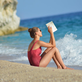 Perfect place for reading by Olsi Belishta - Novices Only Portraits & People ( reading, girl, beach, albania )