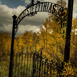 Knights of Pythias by Aly Mazza - City,  Street & Park  Cemeteries ( clouds, central city, cemetery, aspens, gate )
