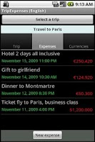 Screenshot of TripExpenses