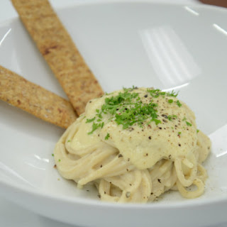 "Chef Richard's Pasta with Cauliflower ""Alfredo"" Sauce and Garlic Flatbread"