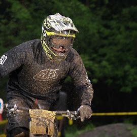 Getting muddy by Turnip Towers - Sports & Fitness Cycling ( mud, downhill, goggles, mountain bike, race )