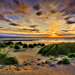 West Shore Sunset by Mike Shields - Landscapes Sunsets & Sunrises ( clouds, sand, grass, sunset, beach, rocks, llandudno, HDR, Landscapes, landscape )