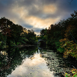 Cloudy Sunset Over Mystic River by Michael Last - Landscapes Waterscapes