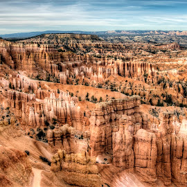 Bryce Photographer by Jim Salvas - Landscapes Travel ( distance, sky, trail, photographer, hoodoos, bryce canyon )