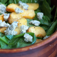 Baby Spinach Salad With Peaches and Hazelnut Vinaigrette