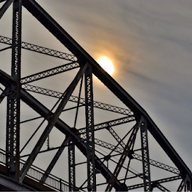 Sunsetting over old bridge by Brock Willis - Buildings & Architecture Bridges & Suspended Structures ( cool, indiana, new, sunset, nice, harmony, yellow, bridge, sun )