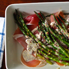 Dinner Tonight: Asparagus with Crème Fraiche Mustard Sauce and Prosciutto