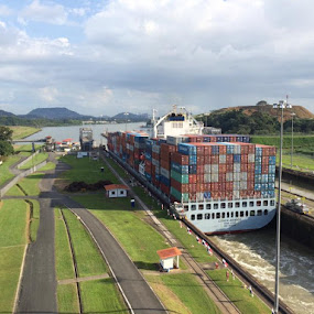 Never gets old. by Chuck Holton - Transportation Boats ( panama, shipping, container, ship, transportation, canal )