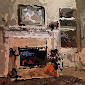 The Fireplace by Allen Crenshaw - Painting All Painting ( art, fireplace, painting )