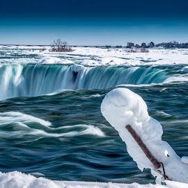 Ice Coated by the Falls by John Witt - Nature Up Close Water ( frigid stick, falls, icy branch, frozen, ice coated )