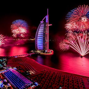 Purple haze!  by Jaideep Abraham - Public Holidays New Year's Eve ( jumeirah beach hotel, 2014, dubai, burj al arab, fireworks, purple haze, new years eve )