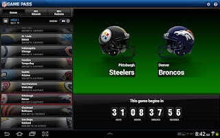Screenshot of NFL Game Pass for Tablet