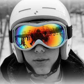 Lets Ski by Kelly Mitchell - People Portraits of Men ( mirror, black and white, color, reflections, people, selective color, pwc )