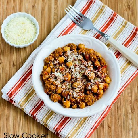 Slow Cooker Chickpea Stew with Italian Sausage, Tomatoes, and Pesto