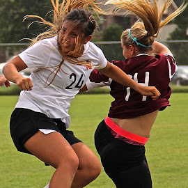 Bad Hair day on the Pitch by Steven Aicinena - Sports & Fitness Soccer/Association football ( jumping, hair, women, soccer,  )