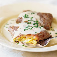 Buckwheat Crepes with Salmon and Scrambled Eggs
