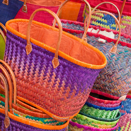 colorful woven market bags by Marjorie Speiser - Artistic Objects Clothing & Accessories ( old, fashion, detail, craft, single, handle, europe, wood, decorative, colorful, straw, retro, yellow, object, homemade, rustic, wicker, macro, style, empty, handwork, carry, closeup, vintage, decoration, texture, bag, woven, handmade, traditional, rough, rural, market, red, wooden, pattern, color, weave, basket, brown, shopping, natural, design )