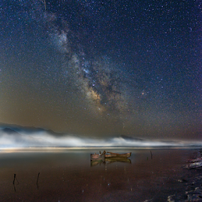 ------- by Dimitrios Lamprou - Landscapes Starscapes ( stars, long exposure, boat, milky way )