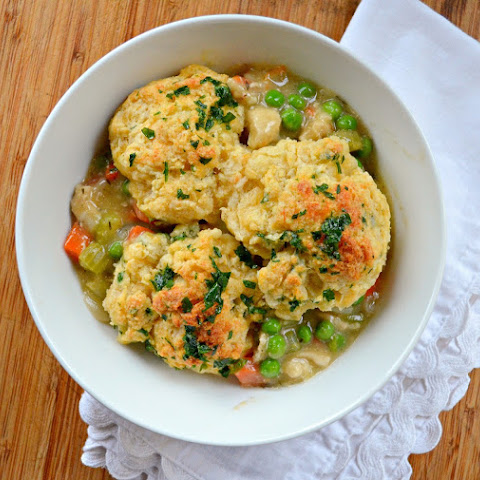 Chicken Or Turkey Casserole With Garlic Cheddar Biscuit Crust