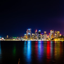 Sydney Harbour at night by Danny Kylstra - City,  Street & Park  Night