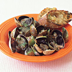 Grilled Clams with Lemon-Ginger Butter and Grilled Baguette