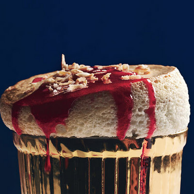Toasted-Coconut Soufflés with Ruby-Red Cranberry Sauce