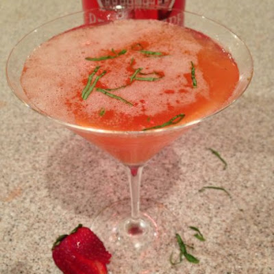 Strawberry Rhubarb Basil Martini