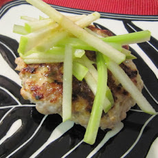Firecracker Burgers with Green Apple and Celery Salad and Thai Basil vinaigrette