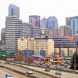 Seattle cityscape cartoon pop art by William Thielen - Digital Art Places ( urban, pop art, cartoon, colorful, seattle, poster, cityscape )