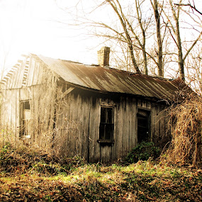 Shack by Sunrise by Sue Neitzel - Buildings & Architecture Decaying & Abandoned ( old house, cabin, wood, rustic, abandoned,  )
