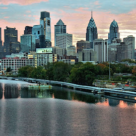 Philly at sunrise. by Valerie Stein - Buildings & Architecture Office Buildings & Hotels (  )