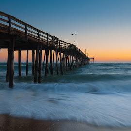 Sunrise in Nags Head by Brian Killough - Landscapes Beaches ( fishing pier, pier, ocean, beach, sunrise, pilings, nags head )