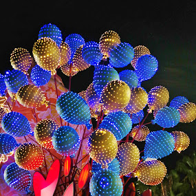 Ballons with lights by Koh Chip Whye - Artistic Objects Other Objects ( , serenity, blue, mood, factory, charity, autism, light, awareness, lighting, bulbs, LIUB, april 2nd, #GARYFONGDRAMATICLIGHT, #WTFBOBDAVIS )
