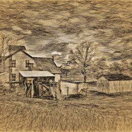 An Old Mill by Dennis Granzow - Digital Art Places ( rural area, traditional art, architecture, landscape, drawing )