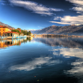 Lovere by Rino Calori - Landscapes Waterscapes ( winter, lovere, lake iseo, reflections, italy )