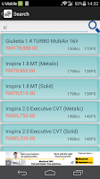 Screenshot of Malaysia cars price list