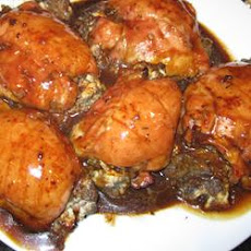 Mushroom-Stuffed Chicken Breasts in a Balsamic Pan Sauce