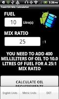 Screenshot of Fuel/Oil Mix Calculator