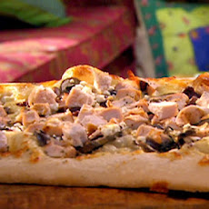 Greek Pizza with Chicken, Feta and Olives with Mixed Cherry Tomato Salad