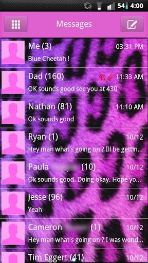 GO SMS Girly Cheetah Theme