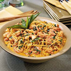 Shrimp with Roasted Red Pepper Cream