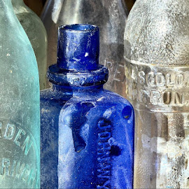 bottles from bay D7000 30mm f5.6 1/250s by Paul DeForrest - Artistic Objects Glass ( blue, glass, white, bottles, historical, antique )