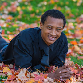 Korso from Ethiopia - first time in Autumn Leaves by Richard Duerksen - People Portraits of Men ( maple leaes, autumn leaves, korso, ethiopia )