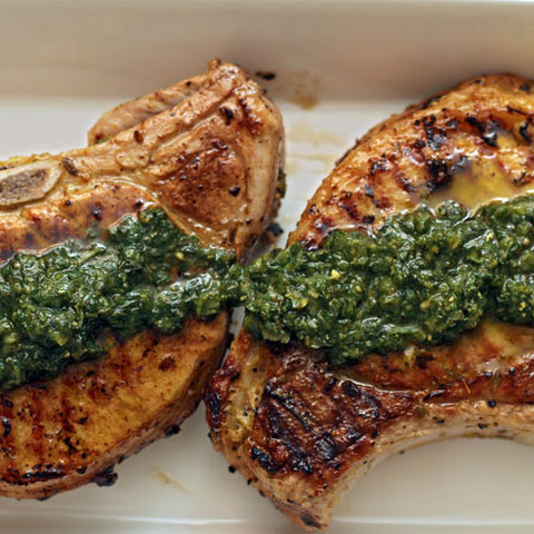 Thyme-Rubbed Pork Chops with Pesto