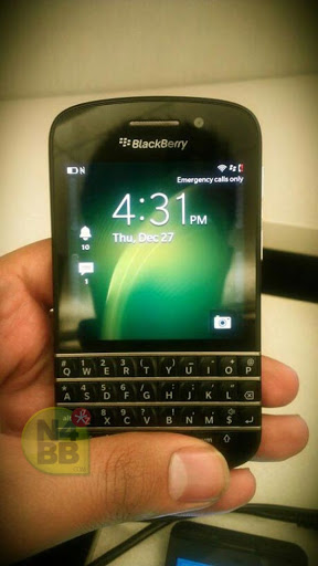 BB10 unblurred front view of an NSeries Querty BlackBerry phone