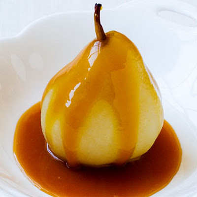 Vanilla Poached Pears With Butterscotch Sauce