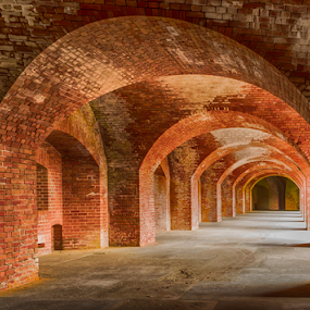 San Francisco's Fort Point rustic archways by Kathy Dee - Buildings & Architecture Public & Historical ( brick, california, inside, arches, historic building, historic district, archways, san francisco, fort point )